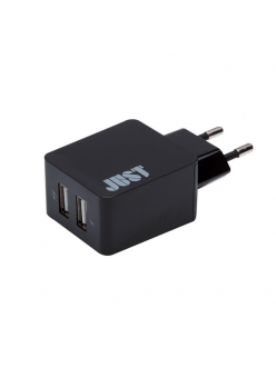JUST Core Dual USB Wall Charger (3.4A/17W, 2USB) Black (WCHRGR-CR-BLCK)