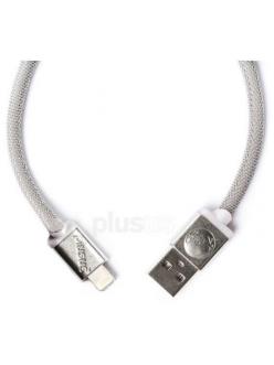Кабель PlusUs Lifestar Designer Mesh Platinum (LST2201024) Lightning to USB Cable 0,24m Пожизненная Гарантия от Производителя