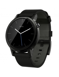 Motorola Moto 360 2nd Generation Smartwatch 42mm Stainless Steel with Black Leather Strap