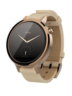 Motorola Moto 360 2nd Generation Smartwatch 42mm Stainless Steel with Rose Gold Leather Strap